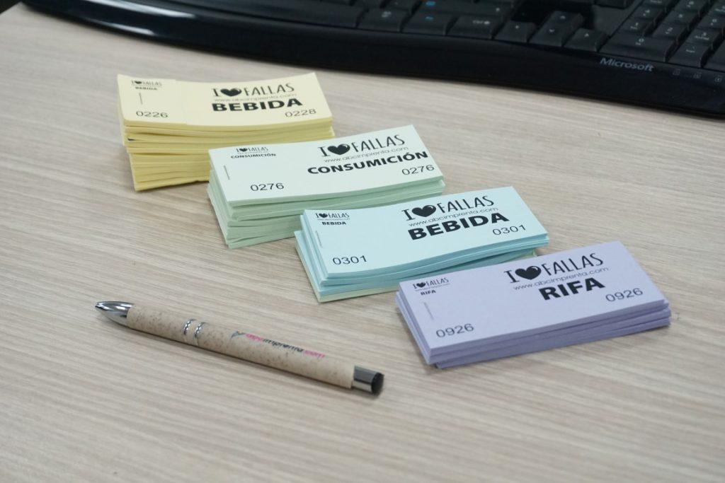 tickets de consumición para eventos en varios colores