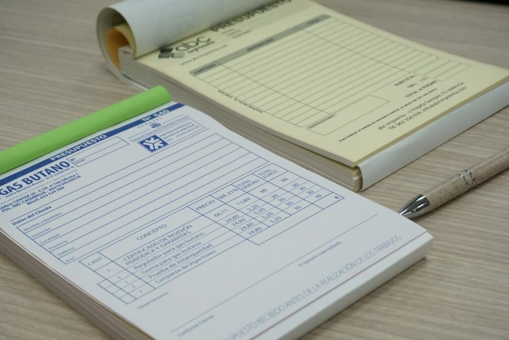 talonarios para presupuestos y pedidos
